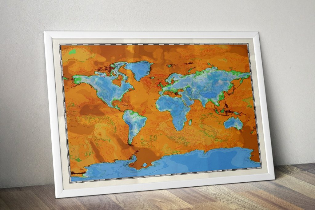 Photoshop Map Brushes & Temlates: IMAGE TO PHYSICAL MAP Converter 2020 - world map vice versa poster wall art view6