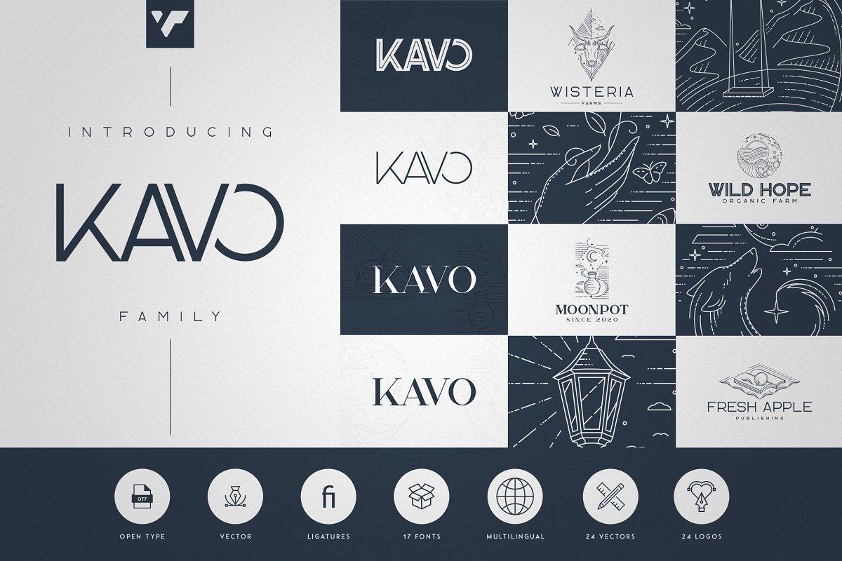 Kavo Family - 17 Modern Regular Fonts + 24 logos - 1 1 2