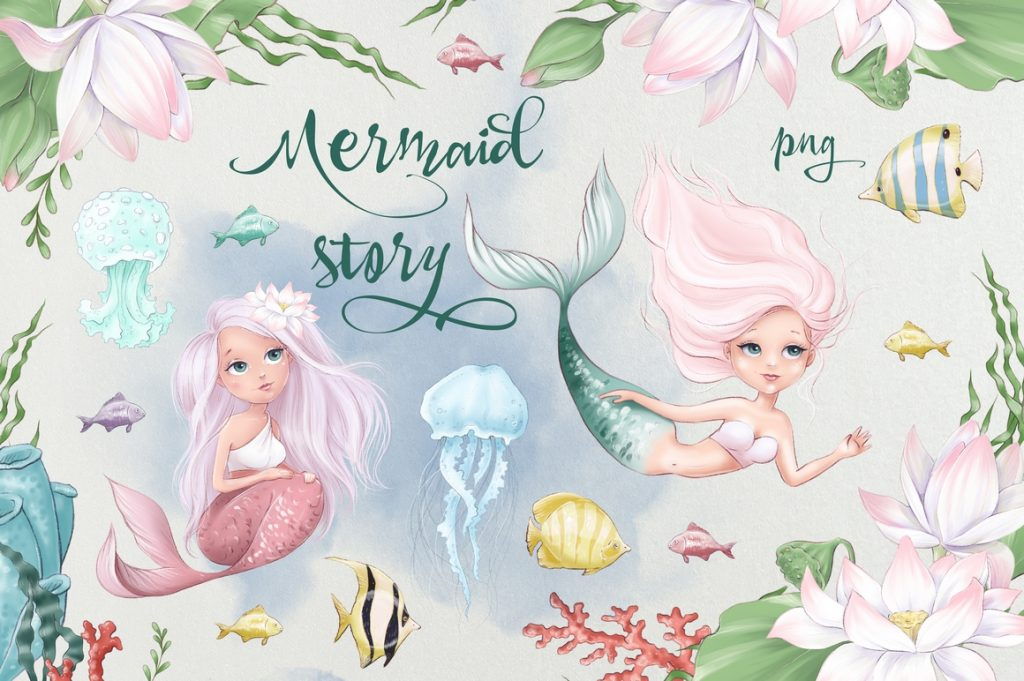 Mermaid Character Design: Mermaids, Fishes, Sea Elements - 1