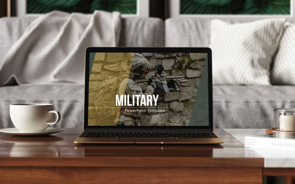 Military template slide on a laptop.