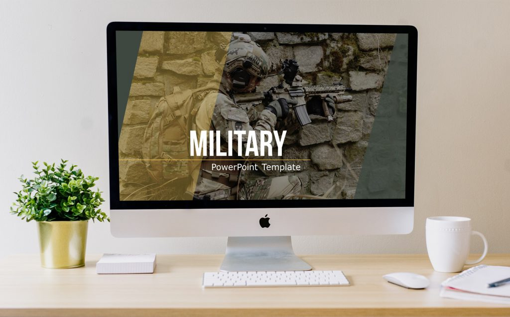 Template main slide appearance in military colors.