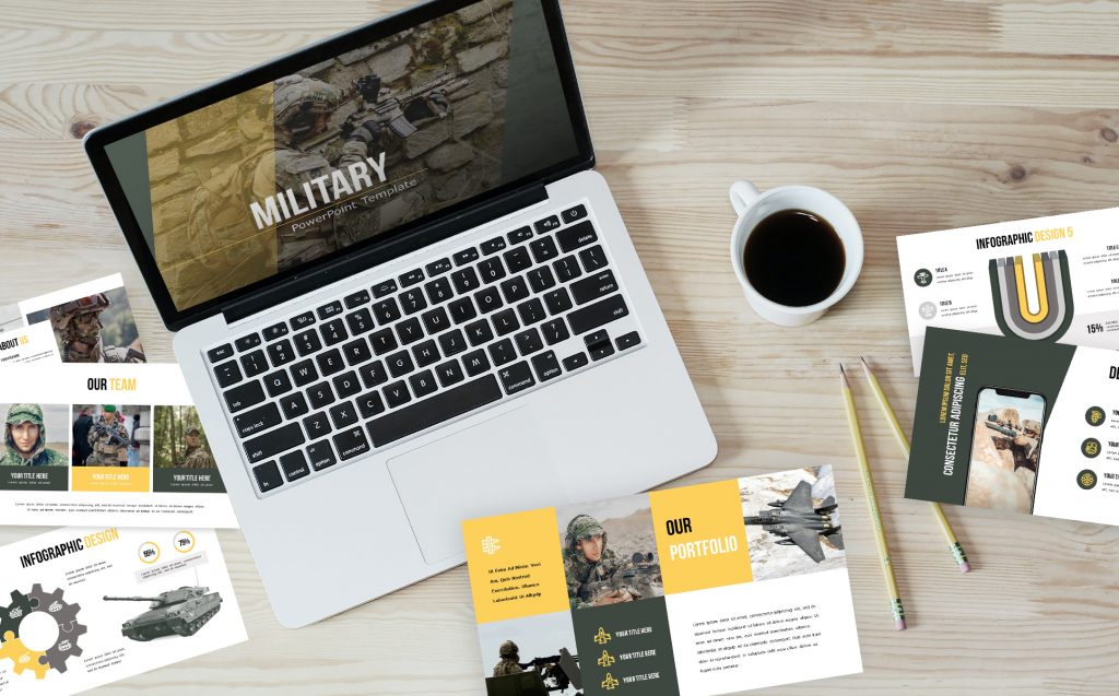 Military PowerPoint Template slides while creating a presentation.