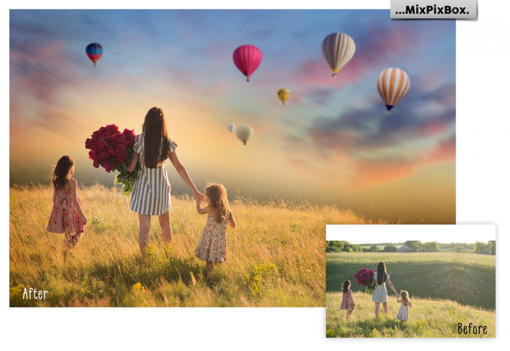 30 Hot Air Balloon PNG Photoshop Overlays & Add-Ons - 3 5