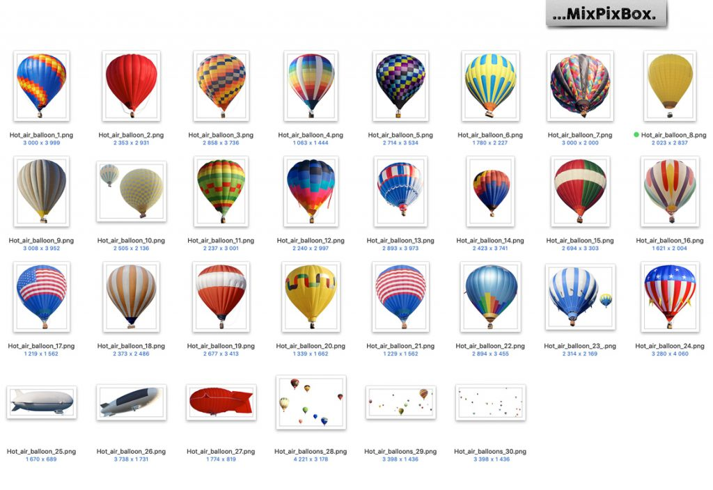30 Hot Air Balloon PNG Photoshop Overlays & Add-Ons - 4 5