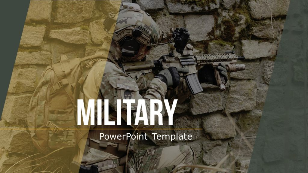 Stylish title template slide in themed military colors.