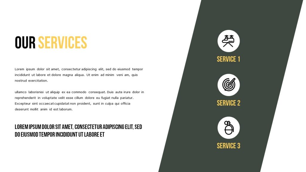 Elegant version of Our Services slide, where all space is available for the text.