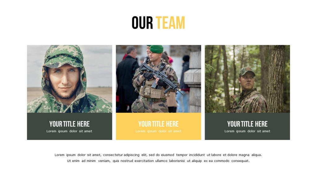Slide Our Team with white background, large three square photos, and text place under them.