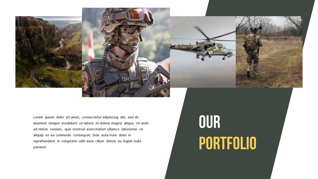 Our Portfolio slide with images on top of the slide, and text box at the bottom left.