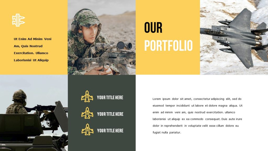Slide Our Portfolio where there is more space for photos, and on the right block for text.