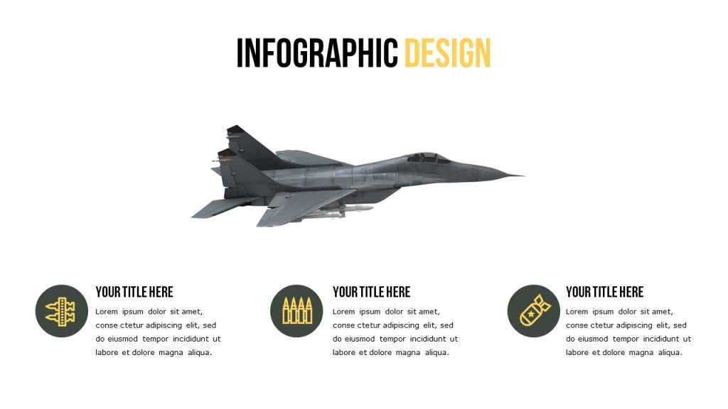 Slide with infographic design, and three blocks for text.