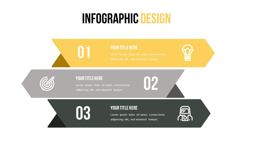 Slide with infographics, three stylish color blocks that are filled with text.