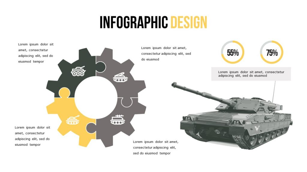 Infographic slide with the ability to place images, and add text.
