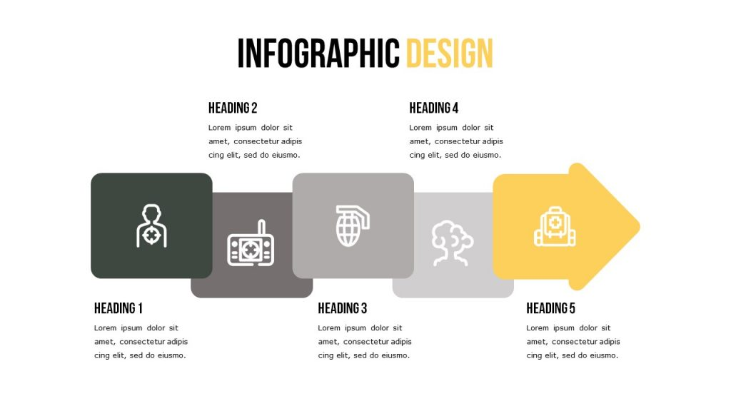 Infographic slide with five blocks for text and five boxes of images.
