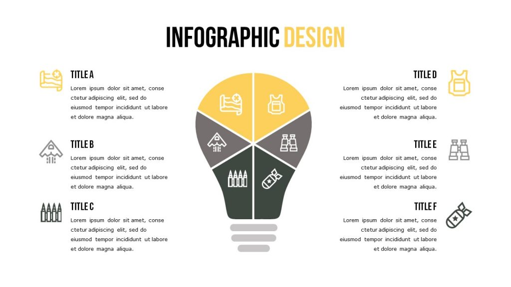 Infographics slide with six text blocks, each one has an icon.