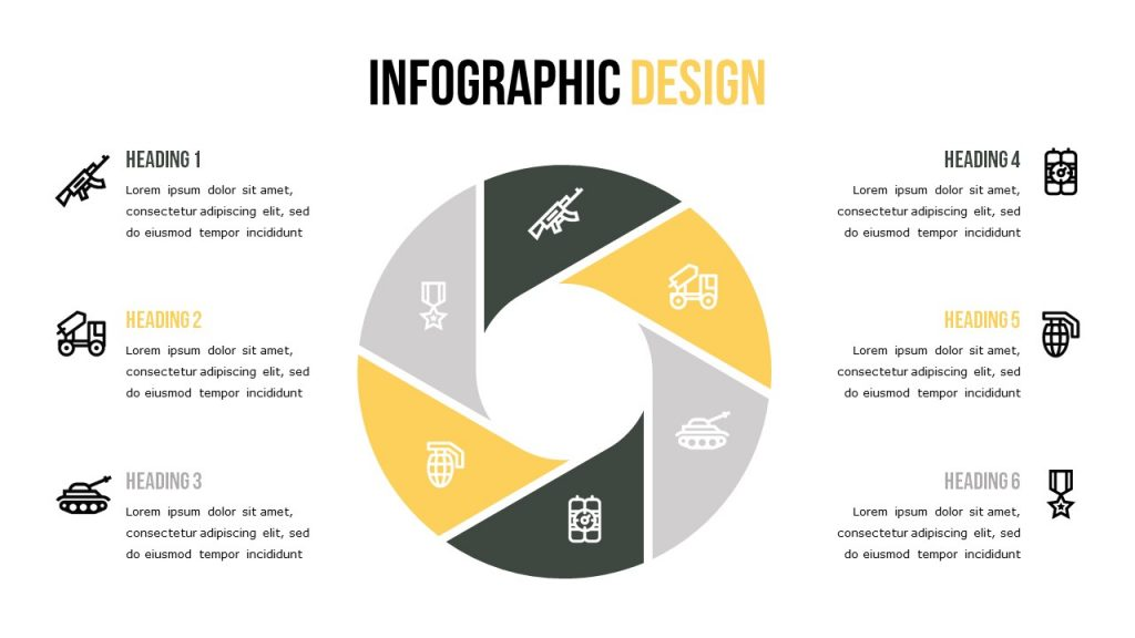Infographic slide with six text blocks, and a large circle that is divided into parts with icons.
