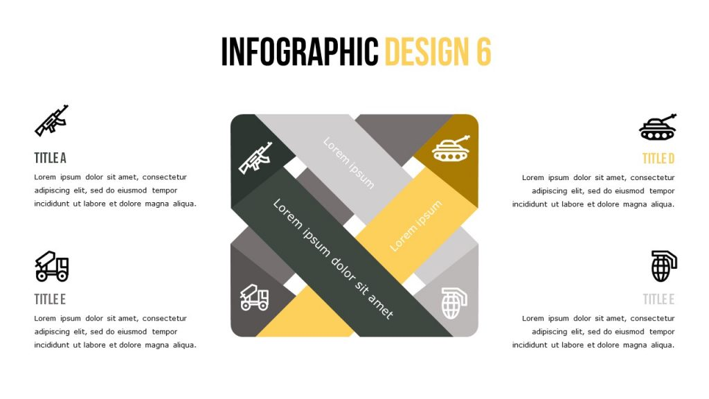 Infographic slide with four text blocks and big figure with marking icons.