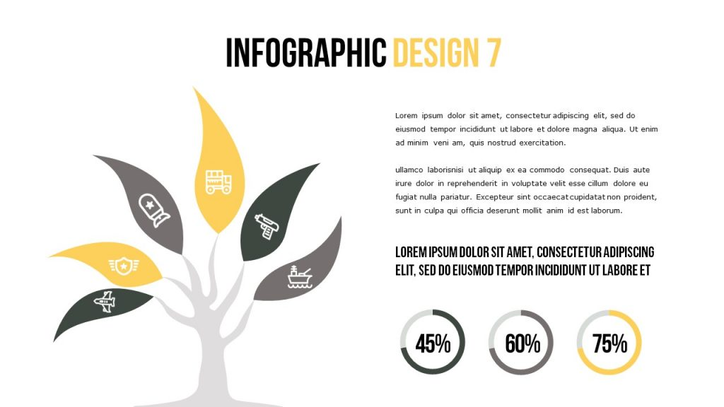 Infographic slide in which the icons are depicted in the tree form, the text is on the right.