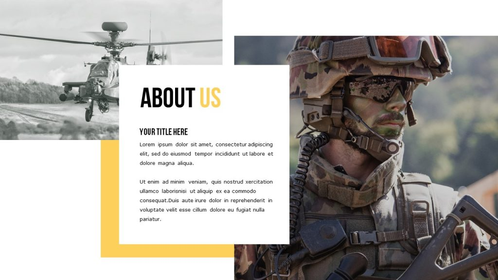 Slide About Us with military and helicopter photo, and place for text in the centre of the slide.