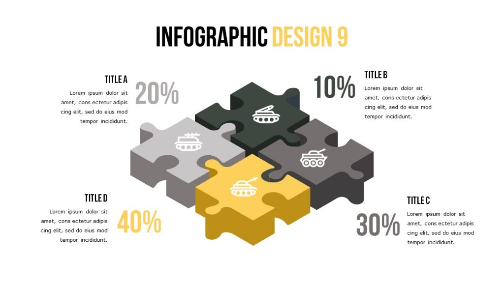 Infographic slide with four text blocks, and marking icons create the large puzzle.