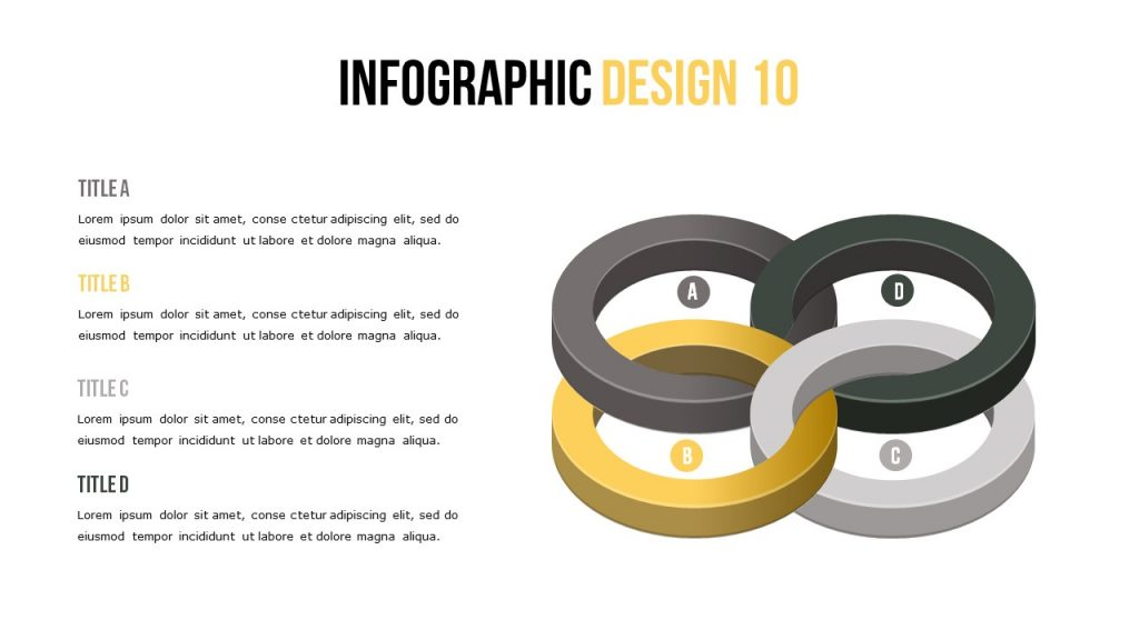 Infographic slide where the main object is the intertwined circles.