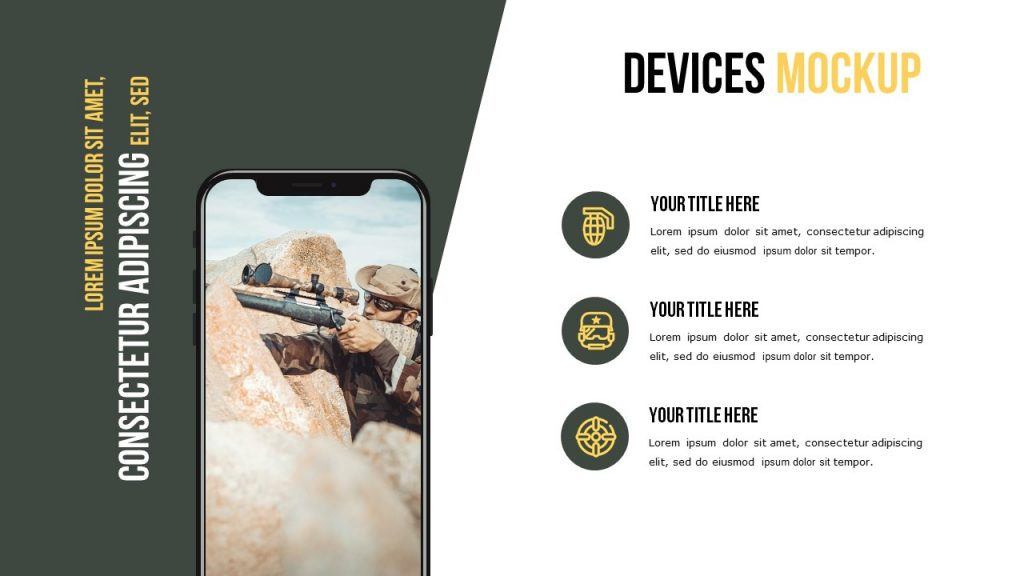 Devices mockup with a small image and a place for text.