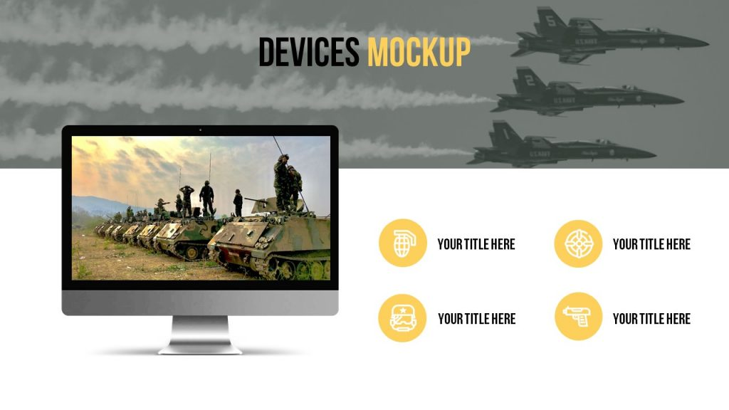Devices mockup with dark military background, small image, and four text blocks.