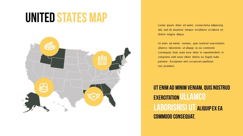 United States map, and information on a yellow background.