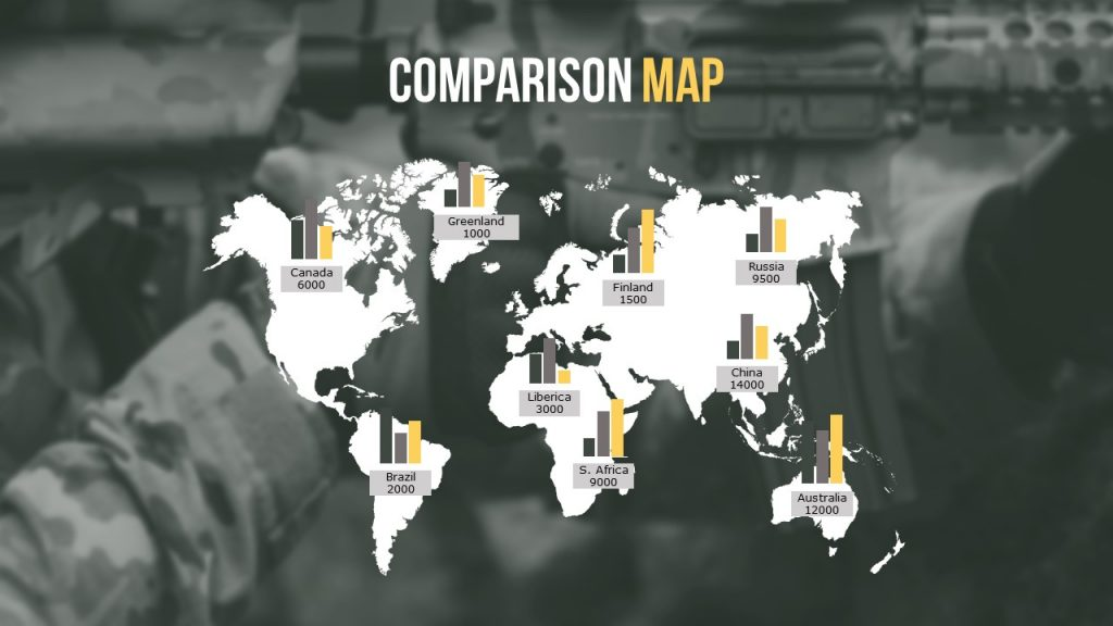 Slide with map comparison without text.