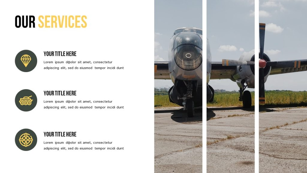 Slide Our Services with a text area on the left, and a helicopter picture on the right.