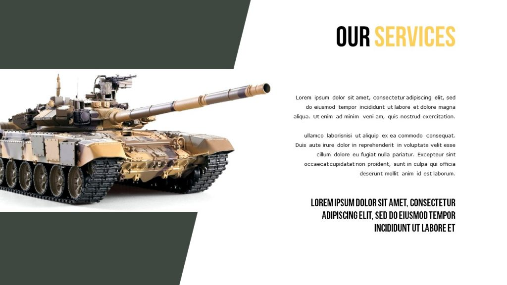 Slide Our Services with the tank image on the left, and a place for text on a white background.