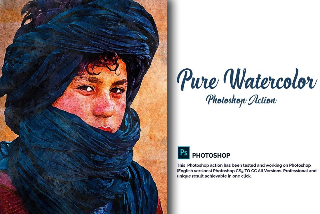 7 in 1 Watercolor Photoshop Action Bundle - cover image