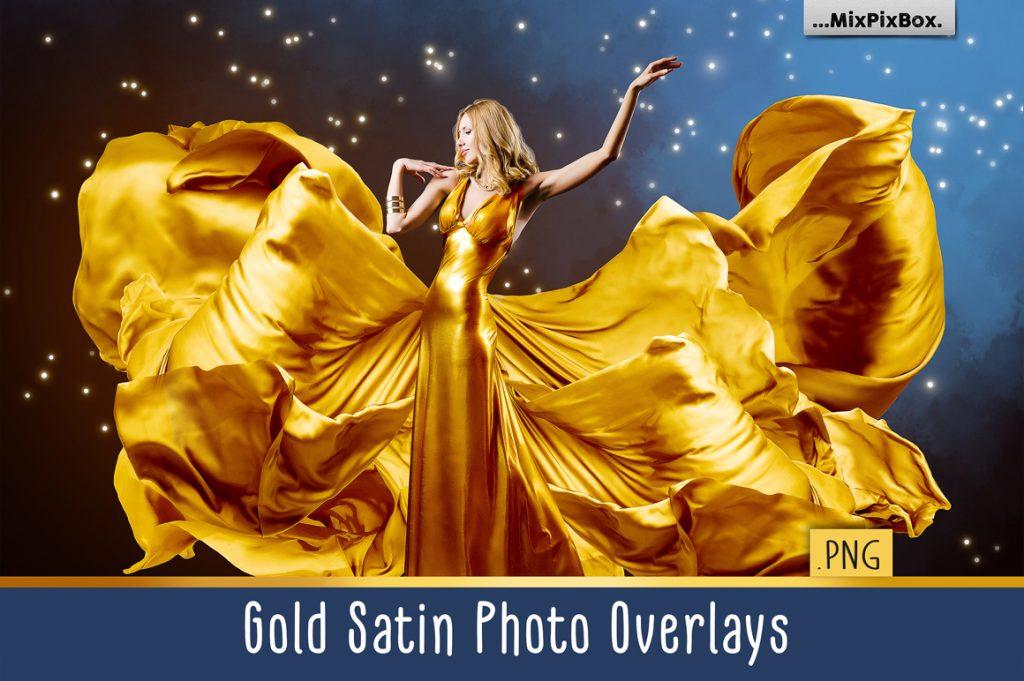 44 Gold Satin Photo Overlays - gold satin first image