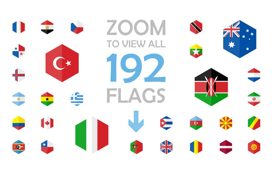 192 Flag Icons Hexagon Flat Design - hexagon ss flag 03