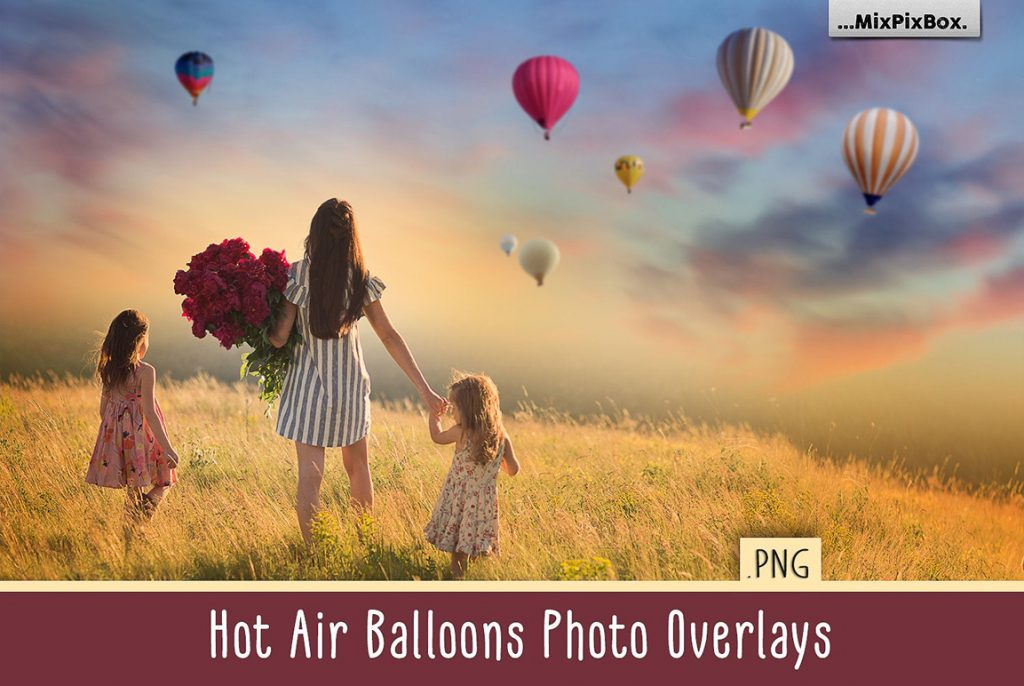 30 Hot Air Balloon PNG Photoshop Overlays & Add-Ons - hot ait first image