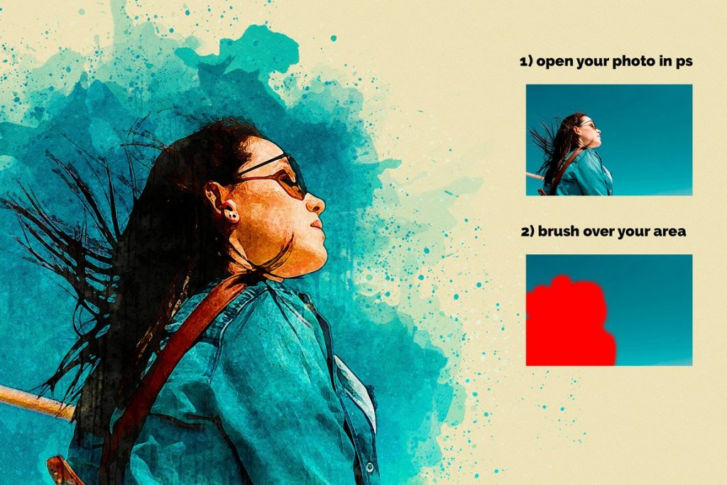 7 in 1 Watercolor Photoshop Action Bundle - preview 2 2