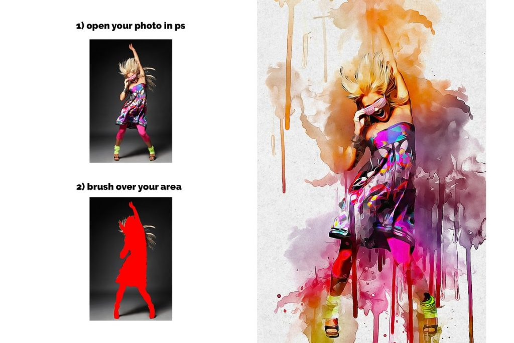 7 in 1 Watercolor Photoshop Action Bundle - preview 2 4