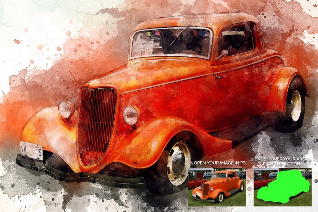 7 in 1 Watercolor Photoshop Action Bundle - preview 3 1 1