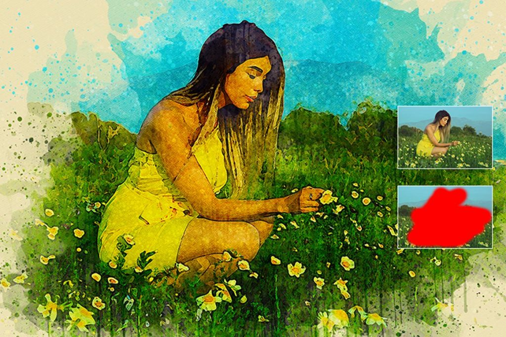 7 in 1 Watercolor Photoshop Action Bundle - preview 6 1 1