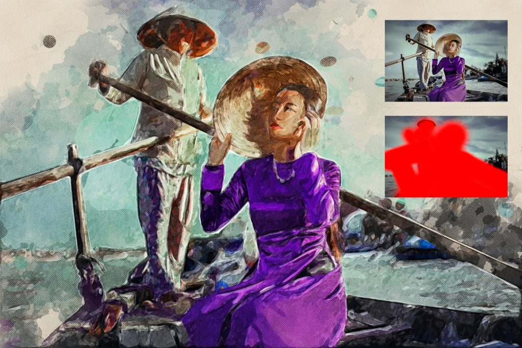 7 in 1 Watercolor Photoshop Action Bundle - preview 6 2