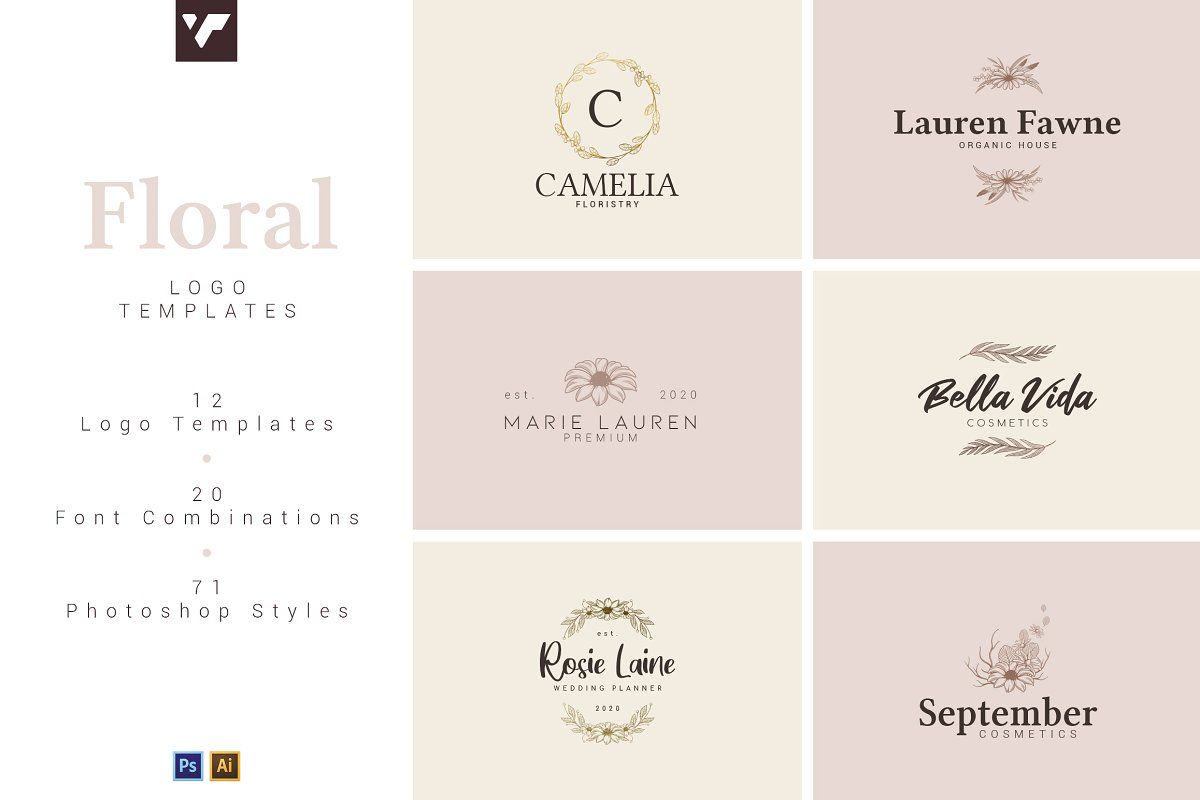 12 Floral Logo Templates - Ai & PS - 1