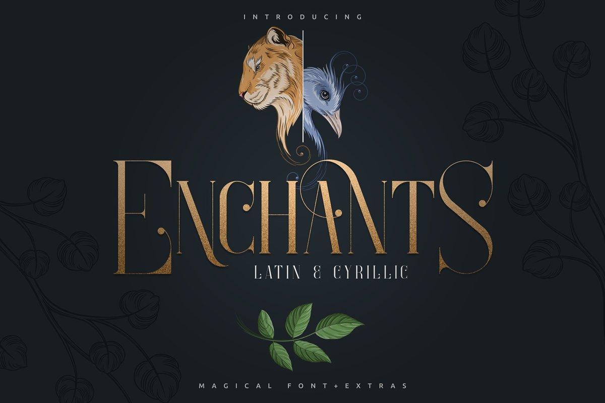 Enchants Bundle: Magical font +  Animal Designs + Nature Elements - 1 2 1