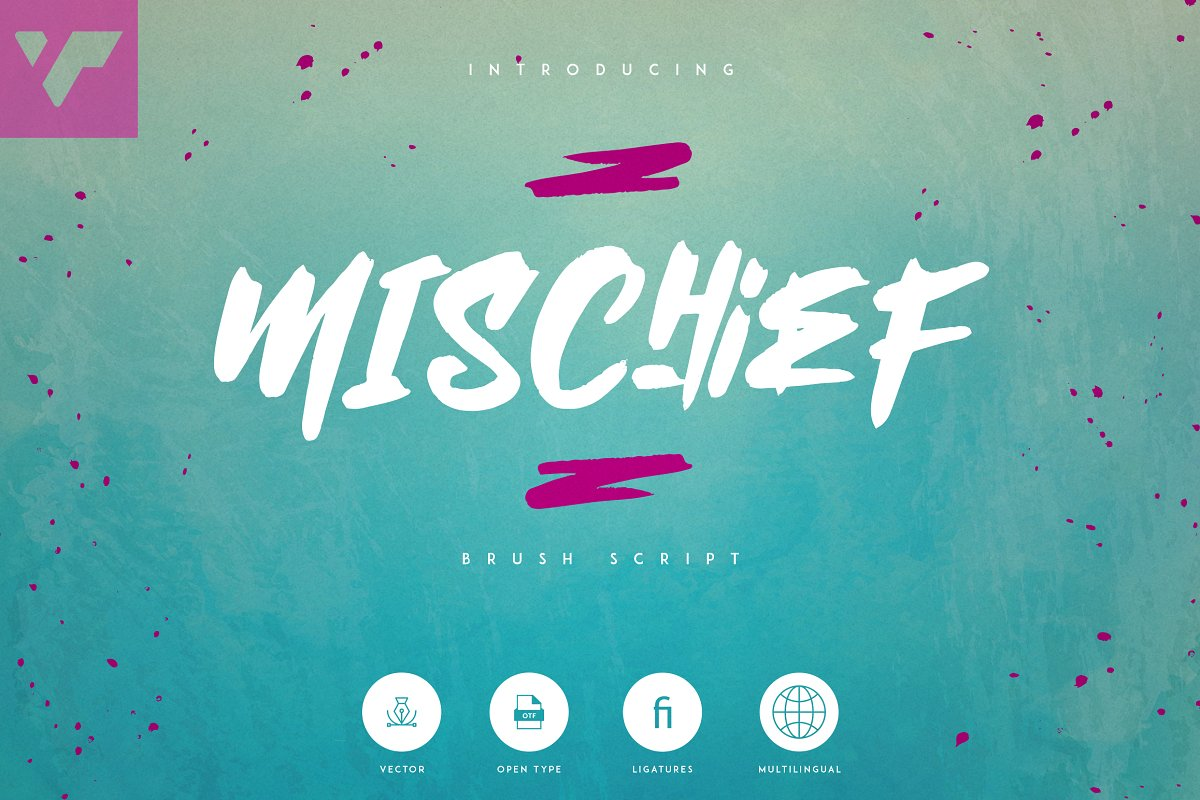 Mischief -  Alphabet Brush Calligraphy Font + Extras - 1 2 4