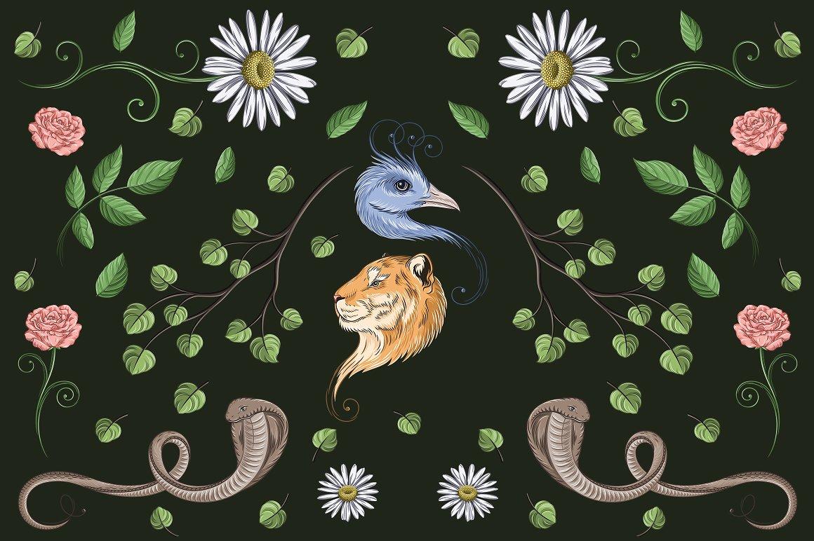 Enchants Bundle: Magical font +  Animal Designs + Nature Elements - 11