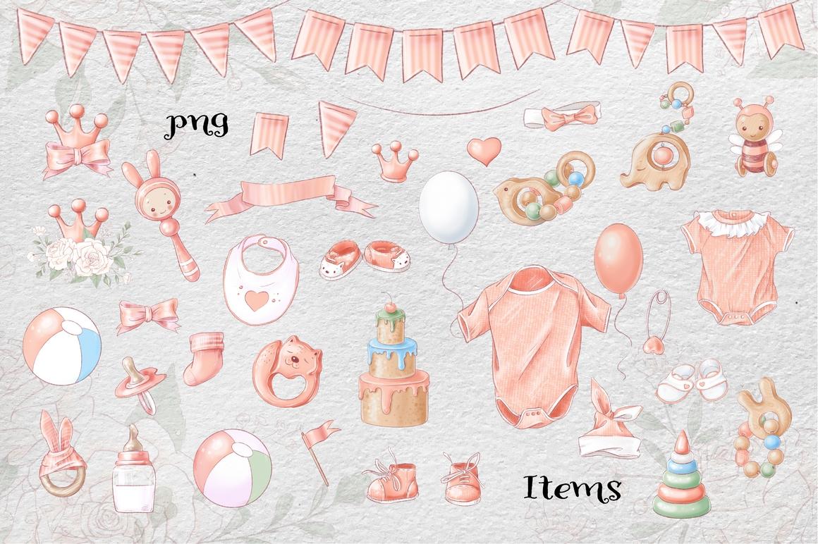Princess Baby Shower Clipart Images Bundle - 13