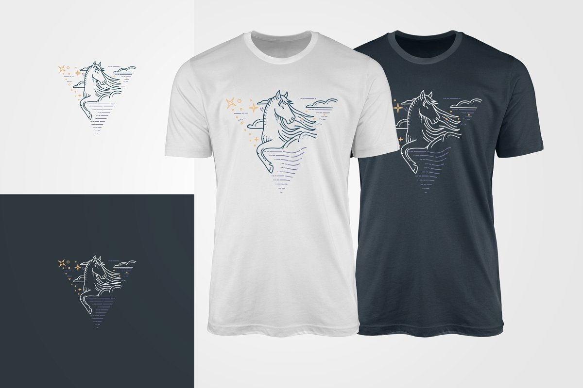 White and black summer t-shirts with horses.