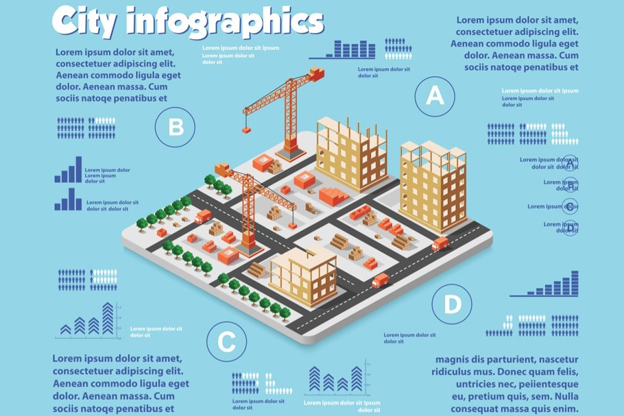 City infographics. Here you will find all the elements you need to display the noisy and fast life in the city.