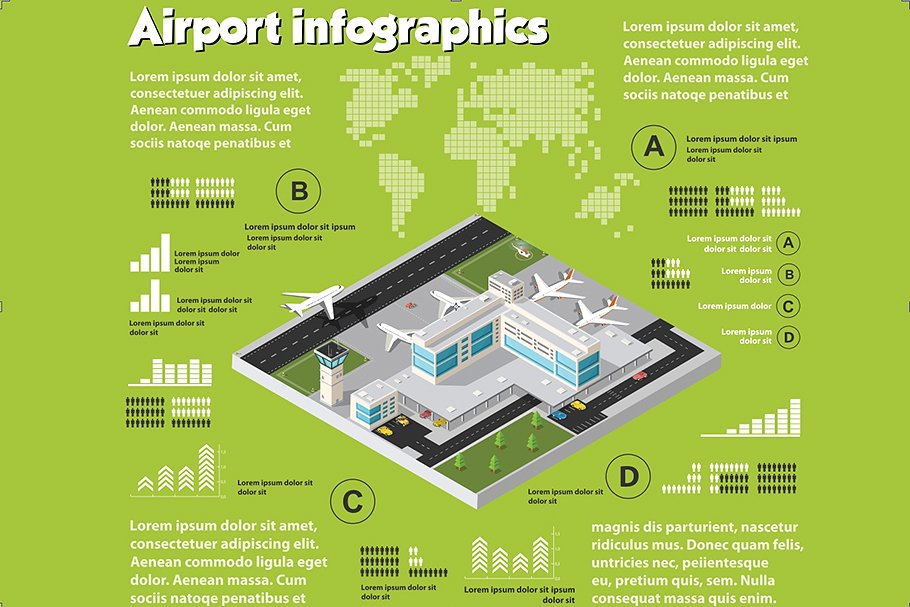 Airport infographics in green. It includes maps, human graphs, and more.