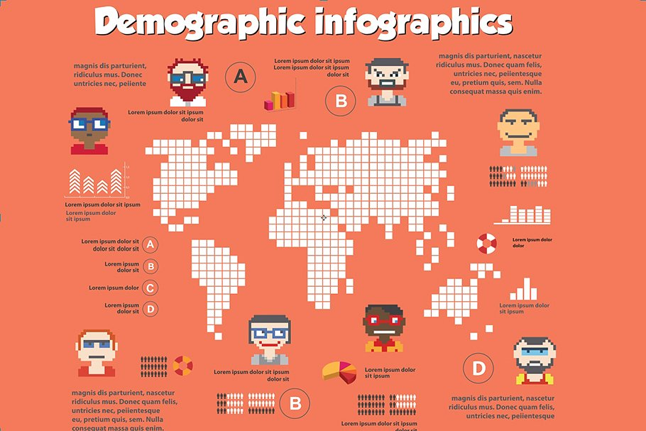 Demographic infographics with bright and modern icons.