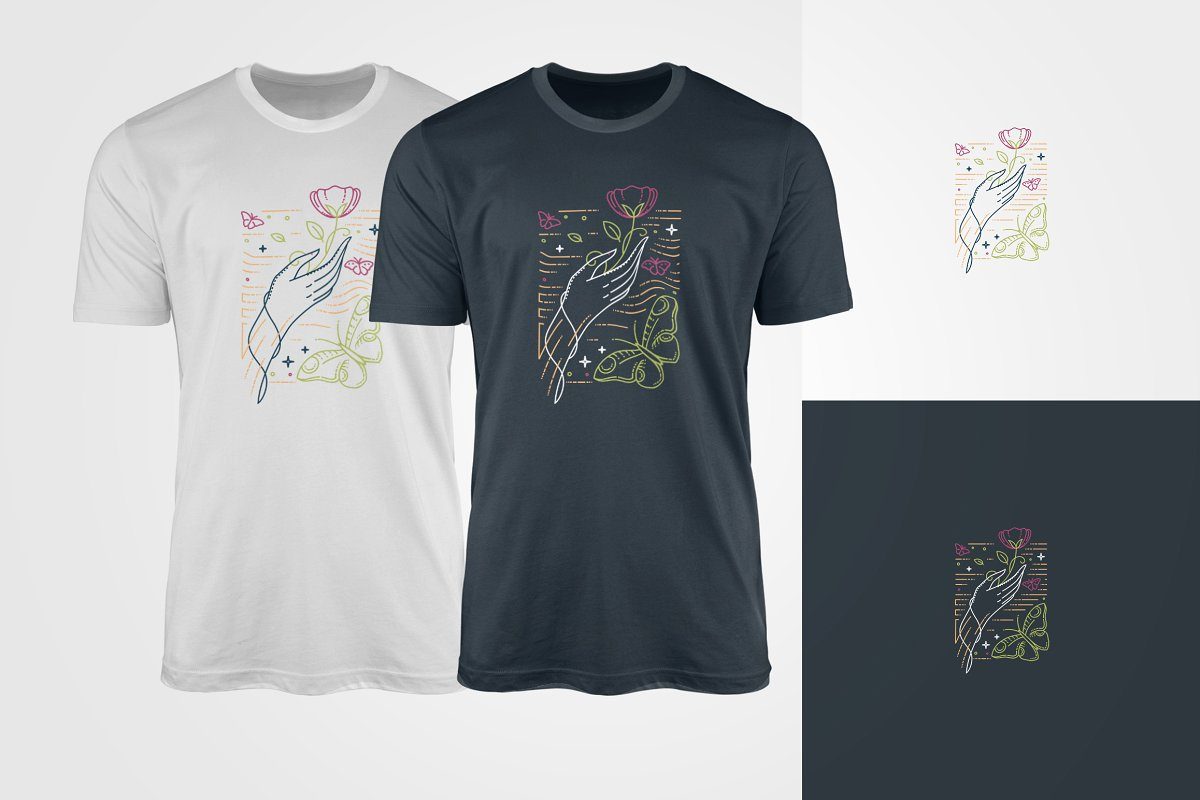 Nice t-shirts with flower. Perfect option for spring and summer.