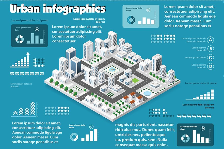 Urban infographics with all the attributes that describe life in a big city among high-rise buildings.
